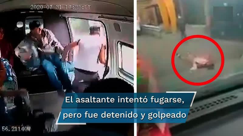 |🇲🇽 ➦ PASAJEROS APROVECHAN FALLA DE DELINCUENTE Y LO GOLPEAN EN COMBI