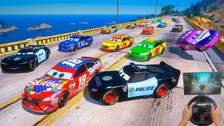 Spiderman Cars - Street Race, Police vs Cars McQueen and Friends Jackson Storm The King Cruz Ramirez