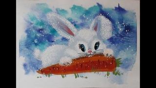 Как нарисовать милого зайчика гуашью. Легко. Поэтапное рисование для детей или начинающих.