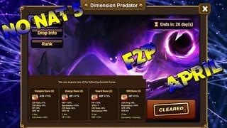DIMENSION PREDATOR Clear April! No Nat5 , F2P - Summoners War