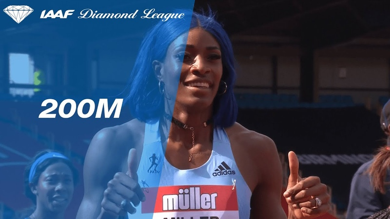 Shaunae Miller Uibo catches Dina Asher smith at the line in Birmingham IAAF Diamond League 2019