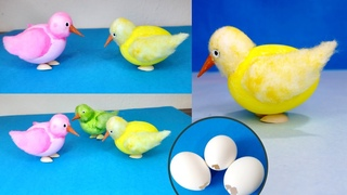 Chicken chick out of egg shell craft - Egg shell craft ideas  Birds with egg shell - egg shell craft