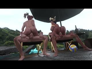 Mercy x Pharah - group sex; riding; big ass; vaginal fucked; 3D sex porno hentai; [Overwatch]