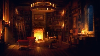 Ancient Library Room - Relaxing Thunder & Rain Sounds, Crackling Fireplace for Sleeping for  Study