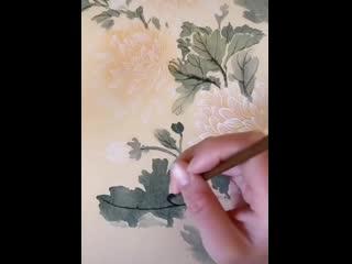 Научите рисовать хризантемы в стиле китайской живописи!