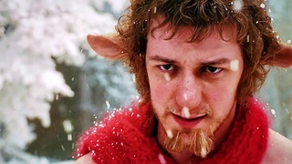 Lucy meets Mr. tumnus.  Shake it.  Narnia.  Chronicles of Narnia 1- the Lion Witch and the Wardrobe.