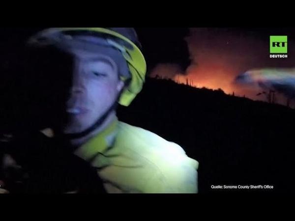 US Feuerwehrleute vor Flammen gerettet
