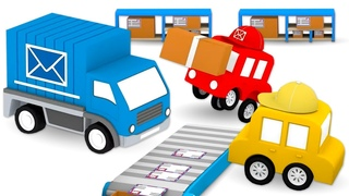 Мультики для детей: 4 машинки собирают почтовый грузовик! Сборник мультфильмов для малышей про цвета