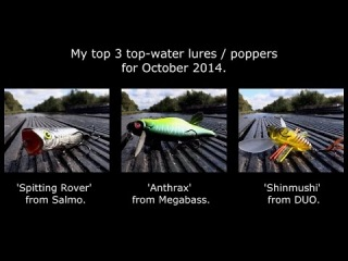 Fishing: my best top 3 surface topwater lures poppers for bass pike muskie perch. Рыбалка щука окунь