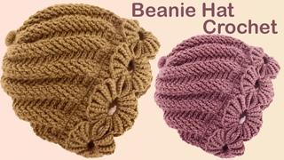 Gorro Fácil tejido en espiral remolino con flores trenzas de abanicos a Crochet