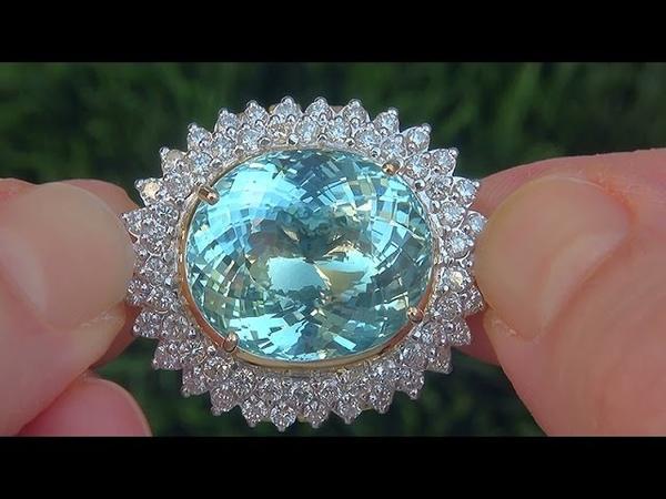 GIA Certified VVS2 Natural UNHEATED Aquamarine Diamond 18k Yellow Gold Ring - A141624