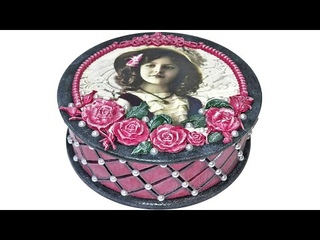 DIY DECOUPAGE ROUND BOX WITH SILICONE MOLDS / IDEAS FOR ROUND BOXES