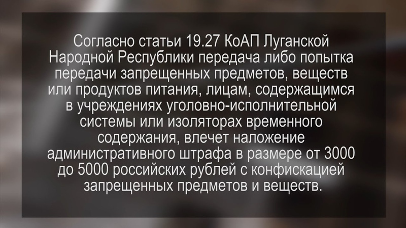 Сотрудниками УИН МВД ЛНР пресекаются попытки передачи запрещенных предметов заключенным