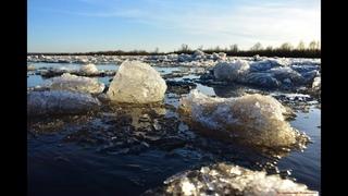 Мощный ледоход на реке Суре! Завораживающее ЗРЕЛИЩЕ! Ice drift on the river!