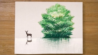 Painting a Tree in Acrylics / Deer painting / Cotton Swabs Painting Technique #463