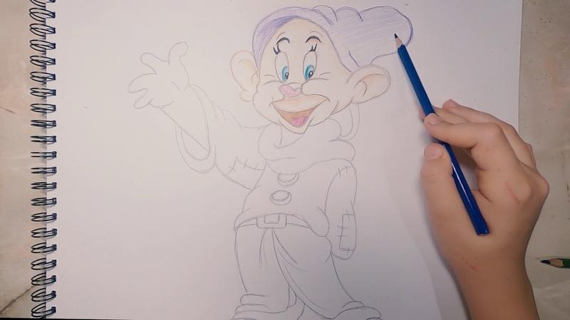 Как рисуем Гнома карандашом.!Draw a gnome with a pencil.