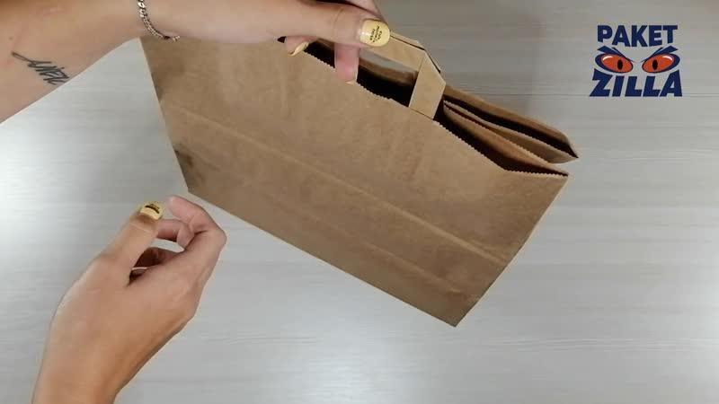 Крафт пакет 32 см х 32 см х 18 см с плоскими ручками плотностью 80 гр м