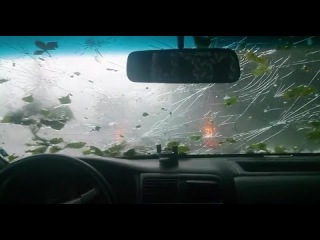 Massive Hail Pounds Windshield - Cover Your Eyes!