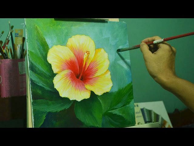 Acrylic Painting Lesson How to Paint Gumamela Flower by JMLisondra