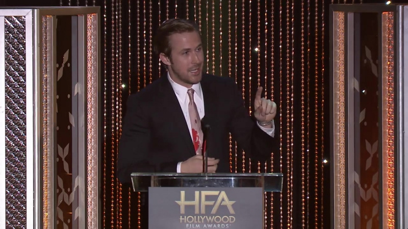 RyanGosling takes the stage to honor Saoirse Ronan with the New Hollywood Award for her role in Brooklyn HFAs