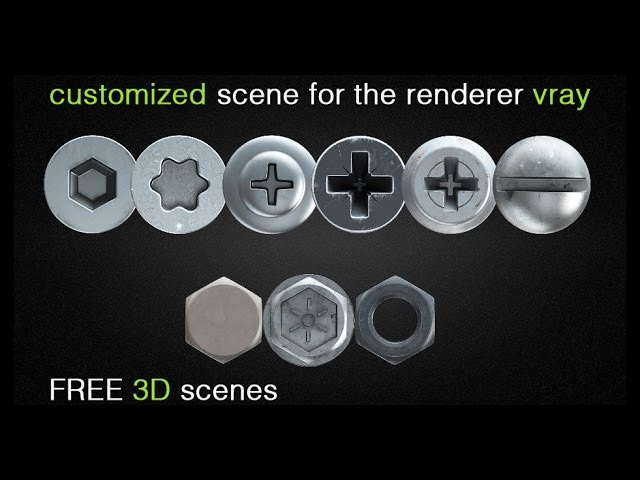 FREE 3D scene hex nut and screw heads for v-ray