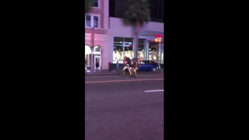 Nikki Benz Ana Foxxx dancing and twerking in traffic on Hollywood Blvd GhostbustersXXX