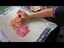 Цветы Пионы в технике холодный батик для начинающих мастер класс роспись шелка.