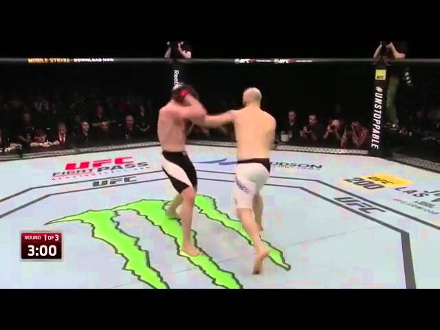 Ufc Zagreb zak cummings checks the kick and drops Dalby