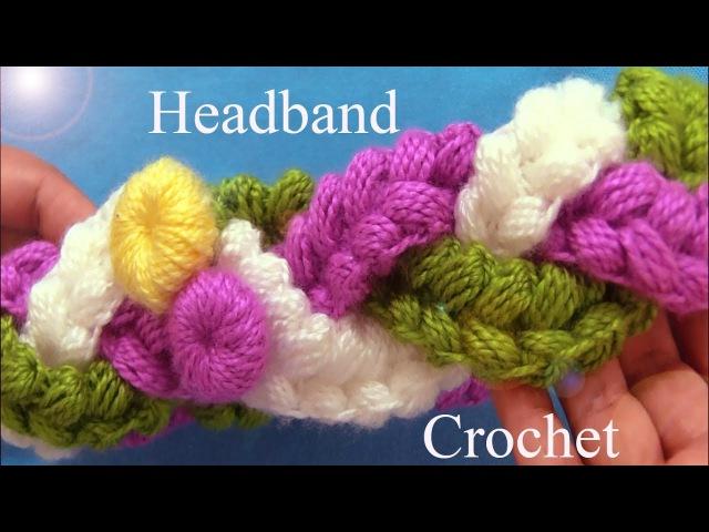 Diadema tejida de tres trenzas en punto puff de colores con gancho Crochet