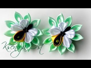 Пчелки - резинки для волос канзаши. Своими руками из атласных лент