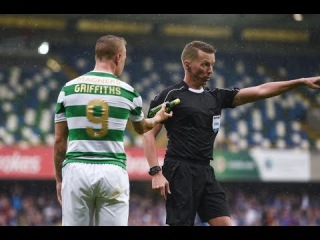Celtic's Leigh Griffiths booked after bottles and coins were thrown at him during Linfield game!
