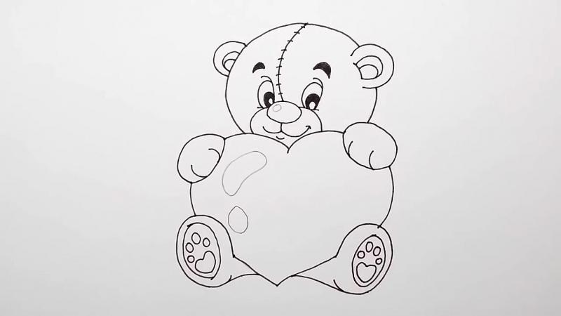 Красивые мишки рисунки карандашом с сердцем