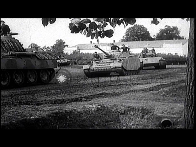 German tanks attacking Soviet allied forces during World War II on eastern front HD Stock Footage
