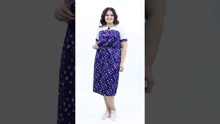 Чудесное платье П3-3630/5 полуприлегающего силуэта из текстильного полотна синего цвета