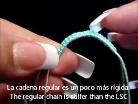 Frivolite tatting lesson 90 cadena de nudos fijos lock Stitch Chain