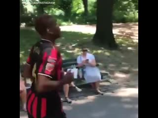 Paul pogba working out in central park, nyc. mufc [igespn]