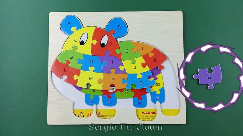 Puzzle Games for Kids Learn Alphabet with Hippo Educational Video by Sergio the Clown