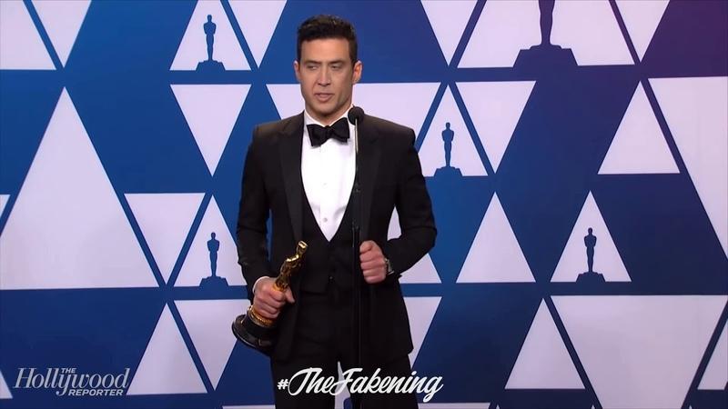 Nicolas Cage Deepfake onto Rami Malek's Academy Awards Press Conference