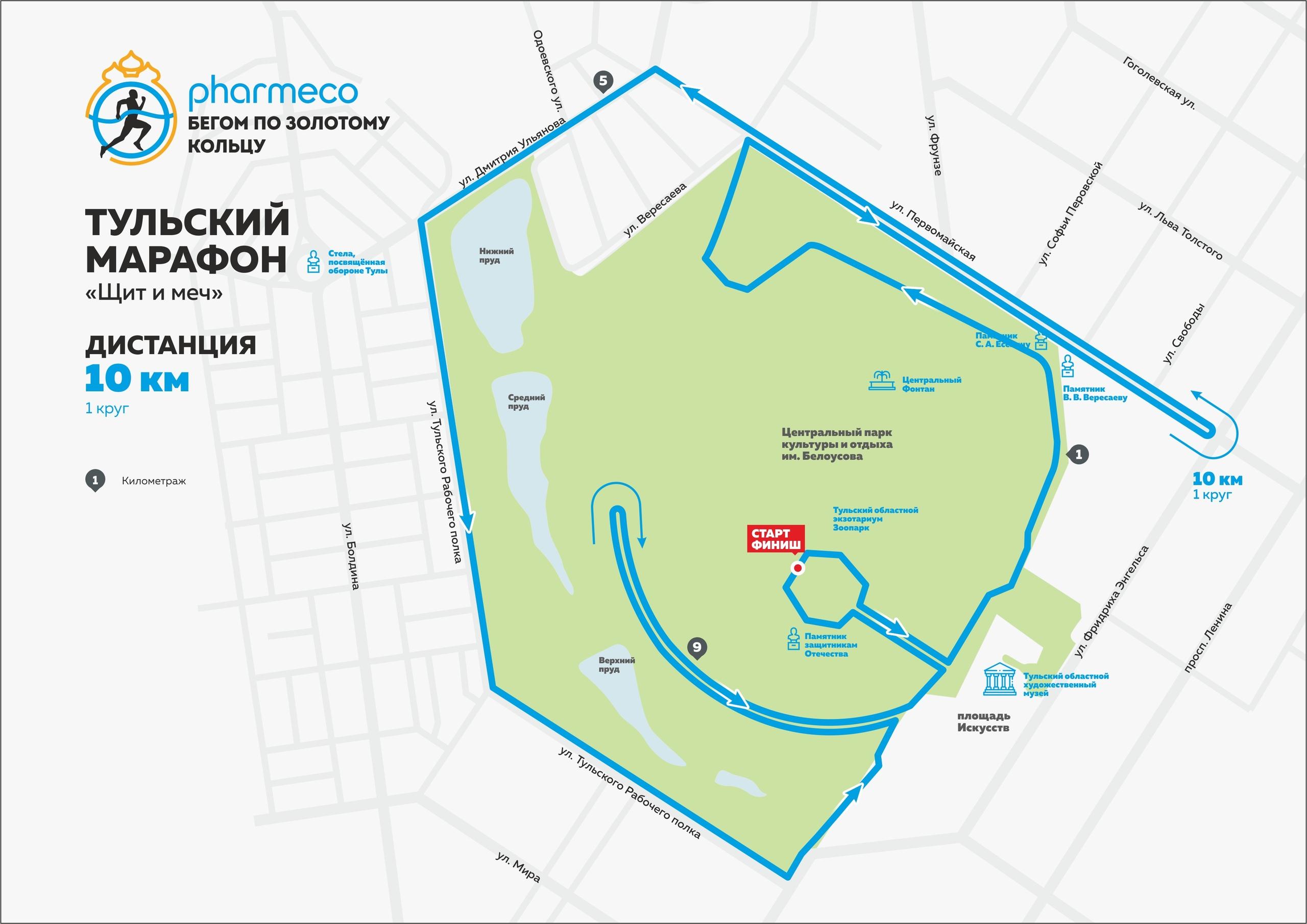 Дистанция 10 км Тульского марафона