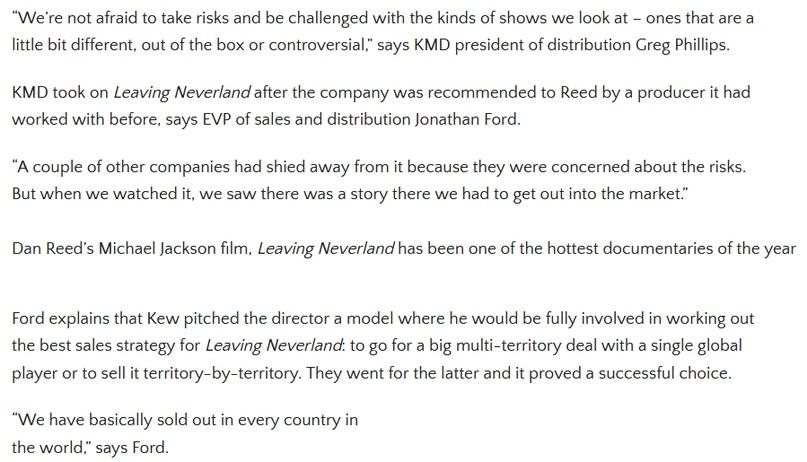 Как связаны Leaving Neverland и Kew Media Distribution (KMD)?, изображение №21
