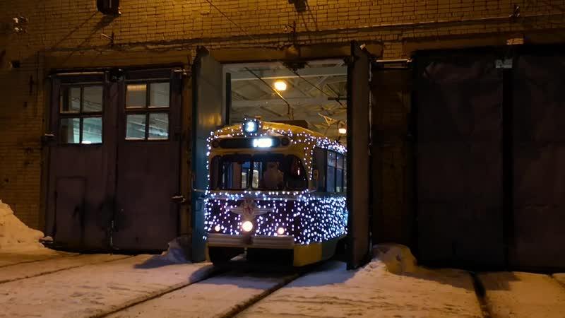 Последний рейс новогоднего трамвая в Нижнем Новгороде