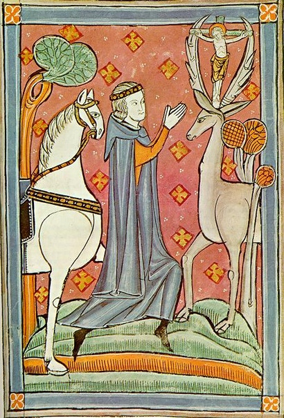 Св. Губерт на миниатюре из британской рукописи XIII века