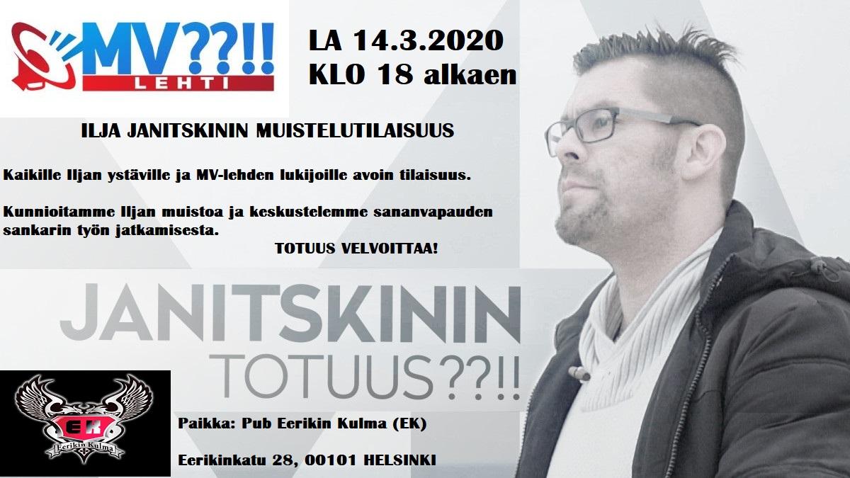 LA 14.3.2020 KLO 18 alkaen IljaJanitskin'in muistelutilaisuus.