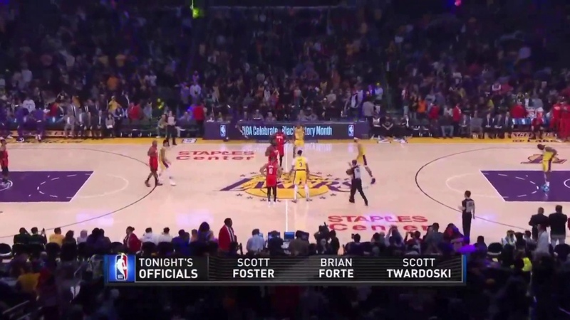 James Harden Jumps In Tip Off Vs Javale McGee