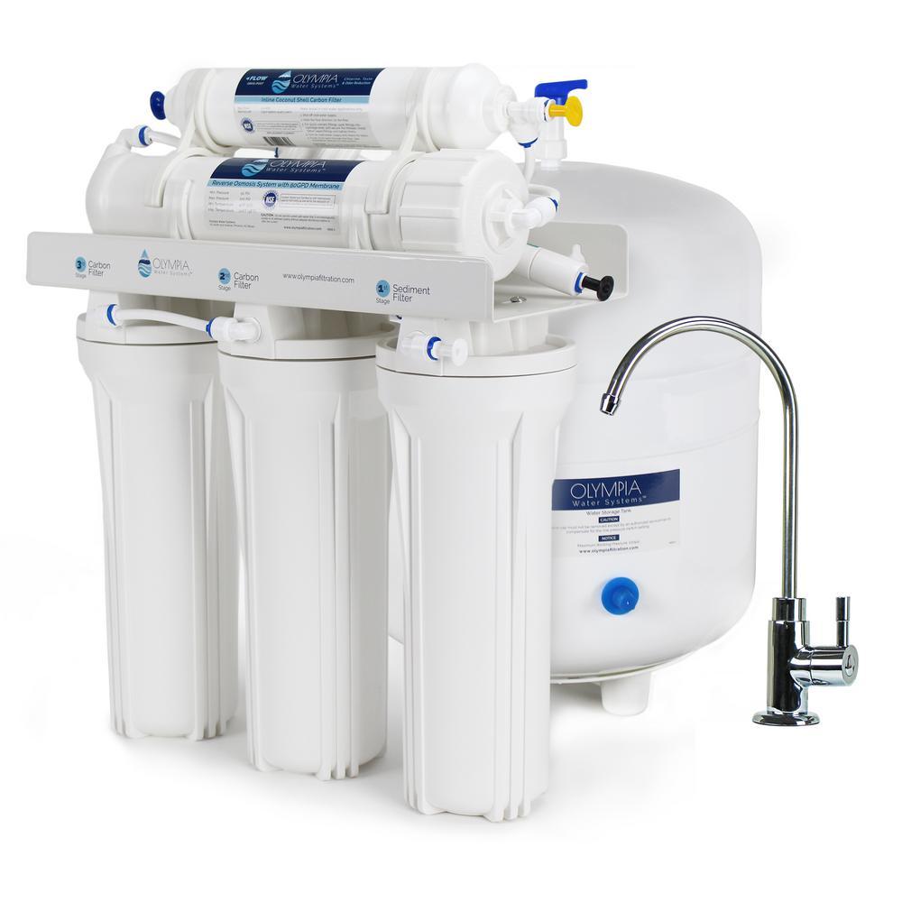 Обратный осмос использует давление для проталкивания воды через мембрану, которая отфильтровывает загрязнения.