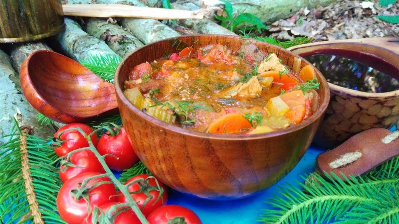 Forest kitchen.🌶️🔥Острый овощной суп с мясом🌶️🔥на костреSpicy vegetable soup with meat on the fire