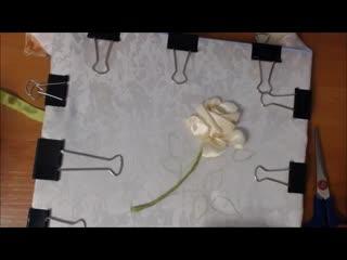 Вышивка лентами розы стебель  листья  бутон Embroidery ribbons rose stem  leaf  Bud Alsu Galimova - YouTube