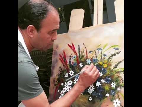 شاهد رشيد الوالي يبدع في فن الرسم لوحة جميل 1
