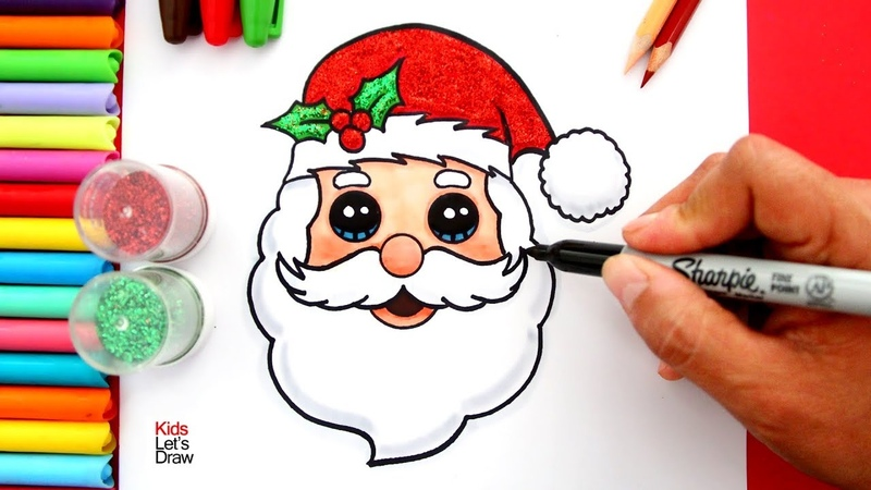 Aprende a dibujar la CARA DE PAPÁ NOEL fácil | How to Draw Glitter SANTA CLAUS FACE Easy
