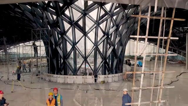 The first building of zaha hadid s unicorn island nears completion in chengdu china
